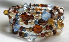 Browns and Blues Czech Bead  Memory Wire Bracelet by CinsWhims, $23.00