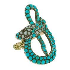 Victorian 18kt & S/S Turquoise, Pearl Garnet Snake Ring