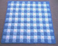 Crocheted Gingham Quilt Afghan for Baby Boy - Toddler