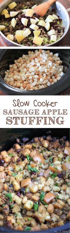 Slow Cooker Stuffing, packed with sausage, apples and cranberries. Crock Pot Slow Cooker, Crock Pot Cooking, Slow Cooker Recipes, Crockpot Recipes, Cooking Recipes, Yummy Recipes, Yummy Food, Snacks Recipes, Crockpot Dishes