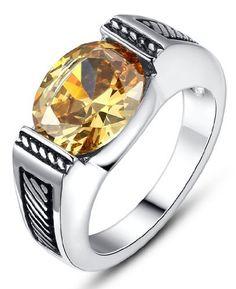 Arco Iris Jewelry – Joya hecha de acero inoxidable Anillo para mujer – modelo solitario – con detalle de zirconia cúbica y en tono amarillo – Estilo vintage