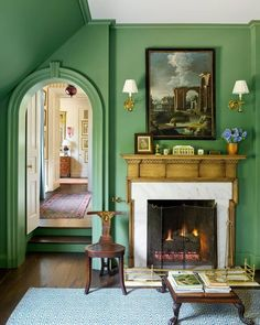 House In Birmingham. Beautiful, Confident, and Visionary Residential Architecture by James F Carter. House In Birmingham. Beautiful, Confident, and Visionary Residential Architecture by James F Carter. Br House, Architecture Résidentielle, Green Rooms, Green Walls, Green Wall Color, Green Painted Walls, White Houses, Traditional House, Traditional Decor
