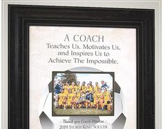 Gift for Soccer Coach, Soccer End of Season Coaches Gifts from Team Wedding Gifts For Parents, Wedding Gifts For Bride, Gifts For Father, Anniversary Party Decorations, 50th Anniversary Gifts, Handmade Wedding Gifts, Photo Frame Design, Personalized Picture Frames, In Memory Of Dad