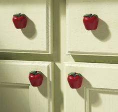 6 Pc. Decorative Apple Kitchen Drawer Pulls