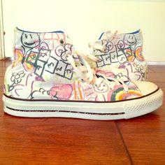 Crayon Pattern Converse High Tops NWOT high top converse with a crayon print! Men's 6, Women's 8. Converse Shoes