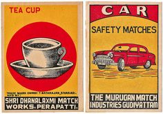 Tea Cup & Car    Jumbo sized Indian matchbox labels circa 1950
