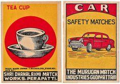 Tea Cup & Car    Jumbo sized Indian matchbox labels circa 1950
