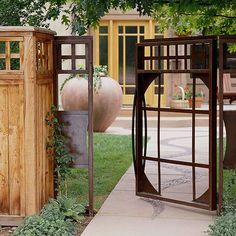 Gates: Design with Shapes-Check out the sidewalk design, and the huge urn! Good idea for our back yard.