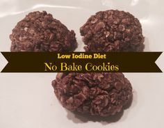 Hypothyroidism Diet Recipes - Low Iodine Diet No Bake Cookies - LID Safe No Bake Cookies from Everyday Allie Rae - Get the Entire Hypothyroidism Revolution System Today Foods With Iodine, Low Iodine Diet, Diet Desserts, Diet Snacks, Diet Recipes, Yummy Recipes, Diet Meals, Diet Tips, Vegan Recipes