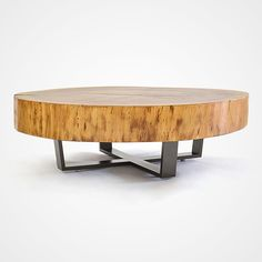This round coffee table is made of a crosscut of reclaimed Tamburiuva wood on natural finish, with a contemporary metal base in powder coated metal. Tree Trunk Coffee Table, Coffee Table Base, Stump Table, Wooden Spool Tables, Wood Resin Table, Tree Stump Furniture, Log Furniture, Raw Wood, Wood Slab