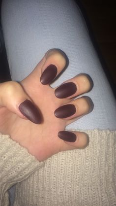 love my acrylic almond matte maroon nails:))!!