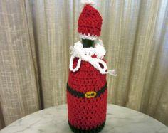 Christmas Wine Bottle Bag – Santa Clause – Hand Crocheted Wine Bottle Bag or Cozy