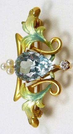 Art Nouveau Newark 14kt. Yellow Gold, Aquamarine, Diamond & Pearl Brooch/Watchpin by Krementz