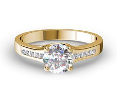 Channel-Set Round Diamond Engagement Ring In Yellow Gold