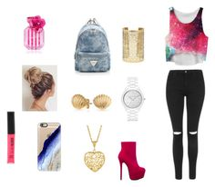 """""""Pink Galaxy"""" by elliebazin ❤ liked on Polyvore featuring Topshop, ShoeDazzle, Michael Kors, Forever 21, Bling Jewelry, Casetify, Rimmel and Victoria's Secret"""