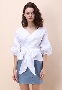 5a300cf513 Enchanting Echo Wrapped Top in White - Tops - Retro