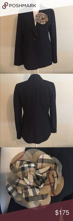 Burberry London black pinstripe blazer jacket Burberry London black pinstripe blazer suit jacket with Burberry plaid flower broach. Excellent condition!! Made in Italy. Size 10. Burberry Jackets & Coats Blazers