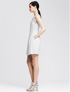 Mesh Ponte Fit-and-Flare Dress | Banana Republic