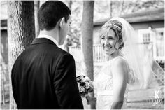 Black & White First Look! Rochester Wedding Photography by Katie Finnerty Photography | http://www.katiefinnertyphotography.com/blog/2015.2.23.spiritus-christi-and-radisson-riverside-wedding-caitlyn-anthony