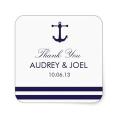 "Nautical Navy Wedding Favor Stickers - Beautifully printed sticker to match your invitation and that can be customized for your special day. Check out the Origami Prints store for invitations, RSVP cards and other products that match this design! To change/add text: Click the orange ""Customize"" button on the left. You can now, by using the editing tools on the right, change all existing text as well as add your own text. You can also change the size, font, color and move of all existing…"