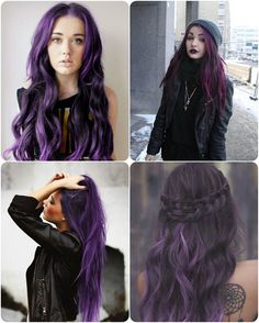 2014 Winter/2015 Hairstyles and Hair Color Trends purple-black hair color in casual waves loose waves in purple black hair colors