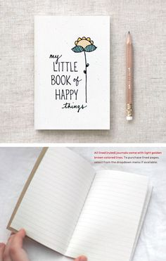 Hand Lettered Mini Journal & Pencil Gift Set, Illustrated Mothers Day Gift, Floral Notebook, Birthday Gift - My Little Book of Happy Things