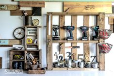 Pallet tool and screw storage  / Reclaimed wood wall and junky storage in the workshop - FunkyJunkInteriors.net