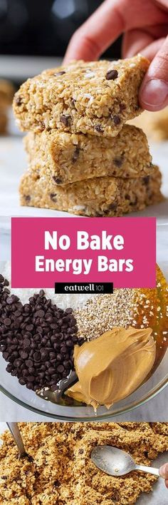 Need an energy boost? Then these no bake bars packed with energy boosting ingredients are what you need! With oatmeal, coconut, honey and peanut butter they make a perfect breakfast on-the-go or af… (no bake oatmeal bars mom) Healthy Bars, Healthy Sweets, Healthy Baking, Healthy Snacks, Healthy Breakfasts, Eating Healthy, Protein Snacks, Protein Bars, Energy Snacks