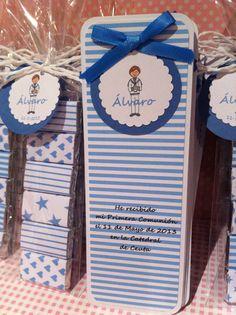 marcapáginas, recordatorio comunion, texto y etiquetas personalizadas, rayas azules