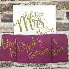 Custom Bridal Party Shirts Set, Bride's Besties, Bride to Be, Bride,Bridesmaid,Custom Shirts, Bachelorette Party  Shirts, Bridal Party Tops by AnythingGoesWeddings on Etsy https://www.etsy.com/listing/267666438/custom-bridal-party-shirts-set-brides