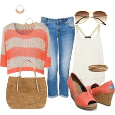 Coral Striped Knit Shirt