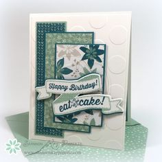 Stamps - Birthday Banners. Colours - Whisper White, Isalnd Indigo, Mint Macaron & Sahara Sand. Blooms & Bliss dsp.