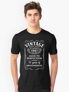 Vintage style graphic design for men and women, ideal as a birthday present for 50 year olds An unusual gift idea for him or her, perfect for a birthday party, but also great for wearing any day. • Also buy this artwork on apparel.