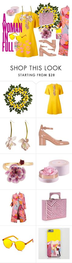 """Y & P love"" by dudettelucy ❤ liked on Polyvore featuring Nearly Natural, Giambattista Valli, Gianvito Rossi, Les Néréides, KAROLINA, Bill Blass, Gucci, gucci, summerlook and pinkcoats"