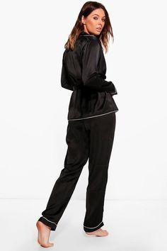 Boutique Eve Satin Robe Front Night Shirt & Trouser PJ Set | Boohoo