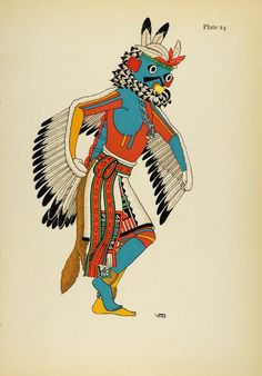 1941 Lithograph Pueblo Indian Costume. Eagle Kachina, Hopi by Virginia More Roediger (via periodpaper).
