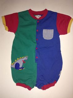 9a3e3a3ed575 VINTAGE GYMBOREE Baby Boy Overalls SMALL 24 months 2T Toddler Green Blue