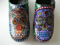 """""""Day of the Dead""""-Painted Dansko clogs- when mine get old, I'm buying some paint!"""