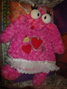 Pink Fuzzy Monster Bag by craftybabydoll on Etsy, $25.00