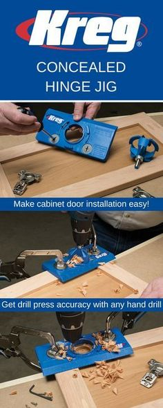 The Concealed Hinge Jig takes the guesswork out of installing cabinet doors using concealed hinges. This economical, easy-to-use jig ensures accurate hinge alignment, so you can install doors that fit great and work well. Plus, the Concealed Hinge Jig works with an ordinary drill and the included carbide tipped bit.