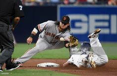 News Photo : Wil Myers of the San Diego Padres is tagged out...