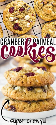 OATMEAL CRANBERRY WHITE CHOCOLATE COOKIE RECIPE Best Homemade Cookie Recipe, Delicious Cookie Recipes, Holiday Cookie Recipes, Best Cookie Recipes, Homemade Cookies, Best Dessert Recipes, Cookie Desserts, Sweets Recipes, Brownie Recipes