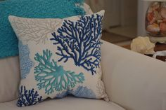 Beach Decor Sea Fan Throw Pillow Coastal by ByTheSeashoreDecor Hand Applique, Hand Embroidery, Custom Pillows, Decorative Pillows, Mediterranean Decor, Beach Wall Art, Coastal Decor, Boho Decor, Beach House Decor