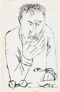 Ben Shahn – Self-Portrait encre sur papier, Museum of Modern Art, New York Ben Shahn, Portrait Sketches, Self Portrait Drawing, Jewish Art, Art For Art Sake, Museum Of Modern Art, Life Drawing, Famous Artists, American Artists