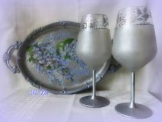 Glasses and wisteria tray