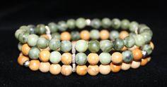 Retrouvez cet article dans ma boutique Etsy https://www.etsy.com/listing/274901422/3-rows-of-2-colors-jasper-beads