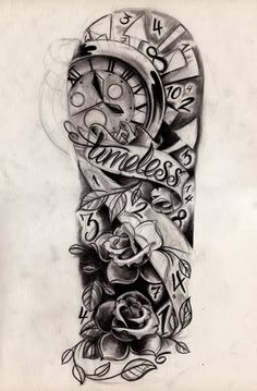 Sketch Clock N Brass Knuckle By Willem In Tattoo Design