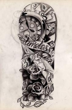 Sketch Clock N Brass Knuckle By Willem In Tattoo Design