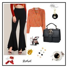 """""""Romwe flare pants"""" by goingdownandup ❤ liked on Polyvore featuring Diane Von Furstenberg and Kevyn Aucoin"""