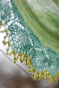 """Fine stockinette knit shawl, with lovely edging. """"Cladonia shawl pattern (not crochet, but for this loveliness, I'd learn)"""""""